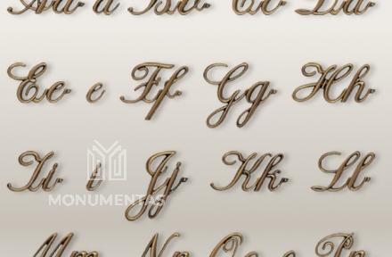 Bronzinės raidės Corsivo Istant